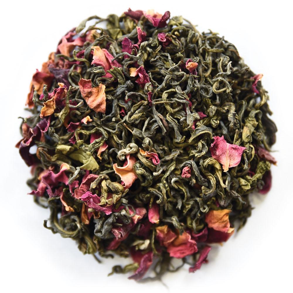 Rose Green Tea - Darjeeling Green Tea Loose Leaf with Rose Petals